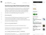 Stock Earnings of Best Performing Stocks Today