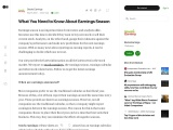 What You Need to Know About Earnings Season