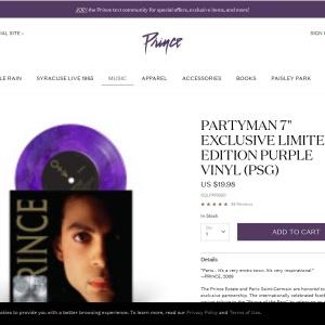 "Partyman 7"" Exclusive Limited Edition Purple Vinyl (PSG) | Shop the Prince Official Store"