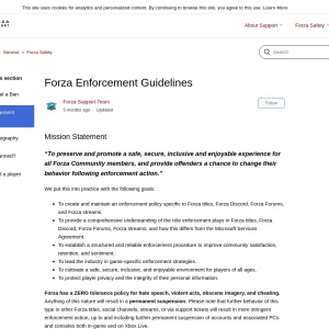 Forza Enforcement Guidelines – Forza Support