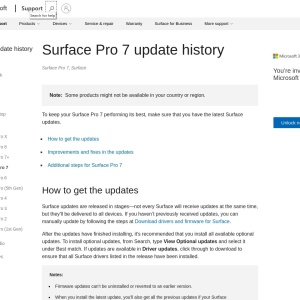Surface Pro 7 update history