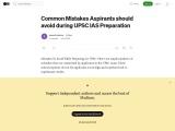 Common Mistakes Aspirants should avoid during UPSC IAS Preparation