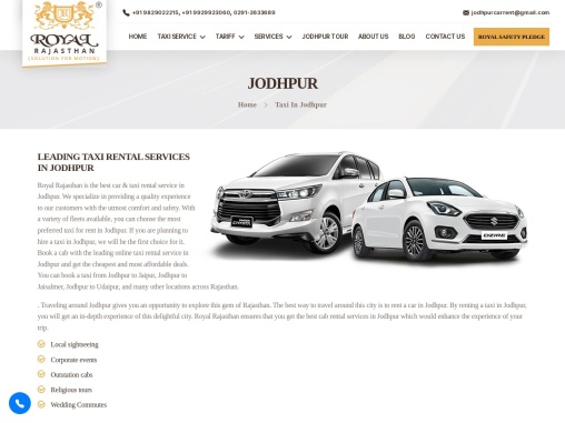 Best Taxi or Car Rental Services in Jodhpur : Royal Rajasthan