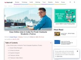 Easy Online Jobs In India For Fresh Graduate Students | Fratres