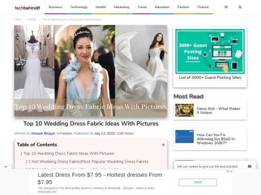 Top 10 Wedding Dress Fabric Ideas With Pictures