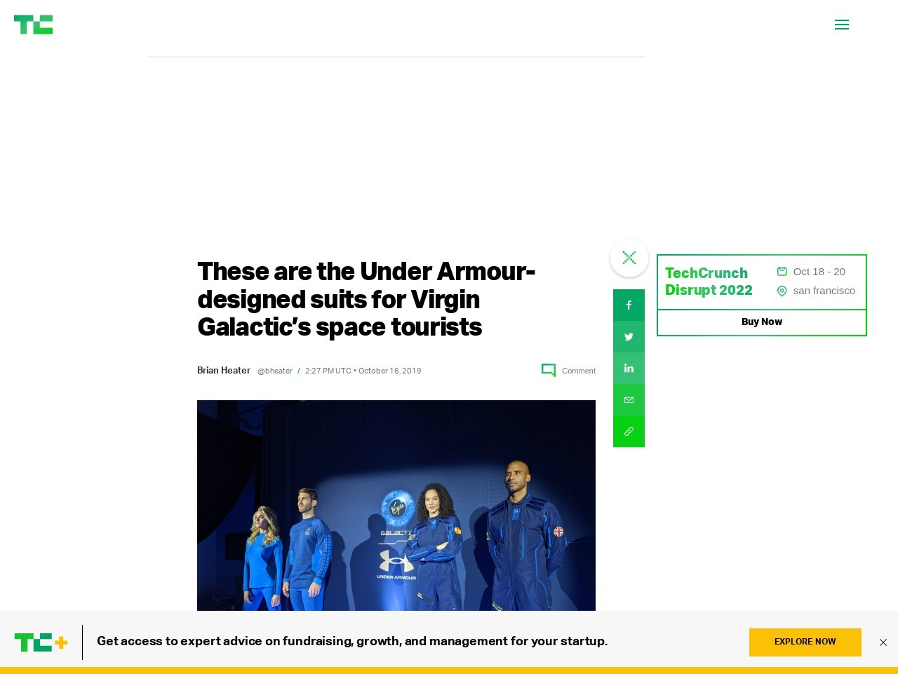 These are the Under Armour-designed suits for Virgin Galactic's space…