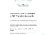 How to Open Outlook Data file to PDF file in Simple Way