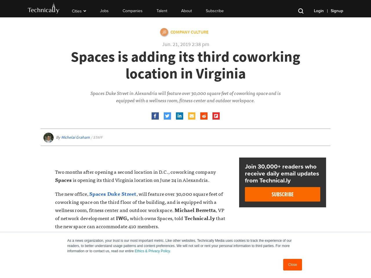 Spaces is adding its third coworking location in Virginia