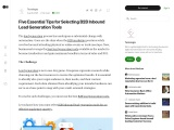 Five Essential Tips for Selecting B2B Inbound Lead Generation Tools