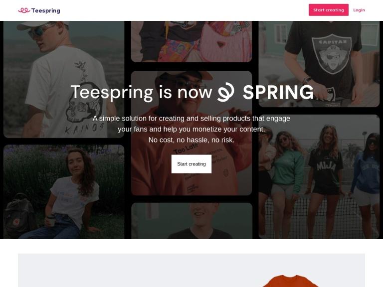 TeeSpring screenshot