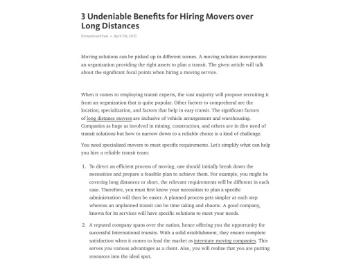 3 Undeniable Benefits for Hiring Movers over Long Distances