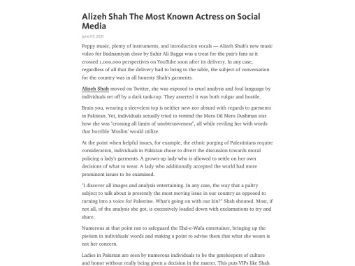 Alizeh Shah The Most Known Actress on Social Media