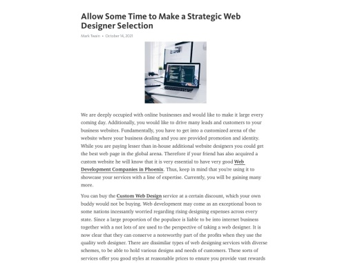 Allow Some Time to Make a Strategic Web Designer Selection