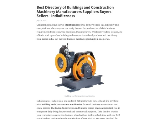 Business Directory of Buildings and Construction Machinery Manufacturers Suppliers Buyers Sellers –
