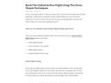 Book The United Airline Flight Using The Given Simple Techniques