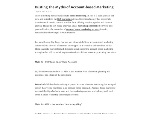 Busting The Myths of Account-based Marketing