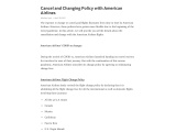 Cancel and Changing Policy with American Airlines