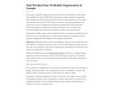 Find The Best Non-Profitable Organization In Canada