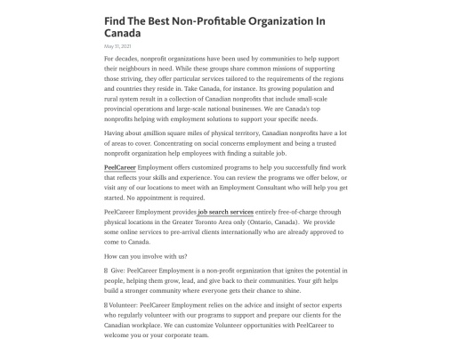 Looking For Best Non-Profitable Organization In Canada