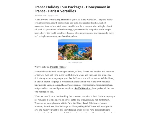 France Holiday Tour Packages – Honeymoon in France – Paris France Travel Packages