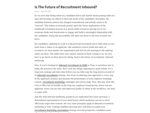 Is The Future of Recruitment Inbound?