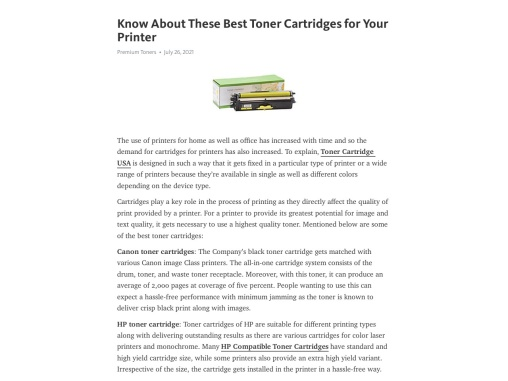 Know About These Best Toner Cartridges for Your Printer