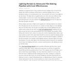 Lighting Rentals to Attenuate Film Making Pipeline with Cost-Effectiveness