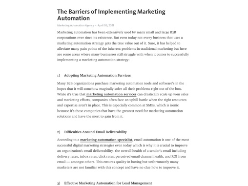 The Barriers of Implementing Marketing Automation