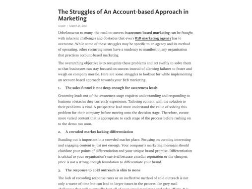 The Struggles of An Account-based Approach in Marketing