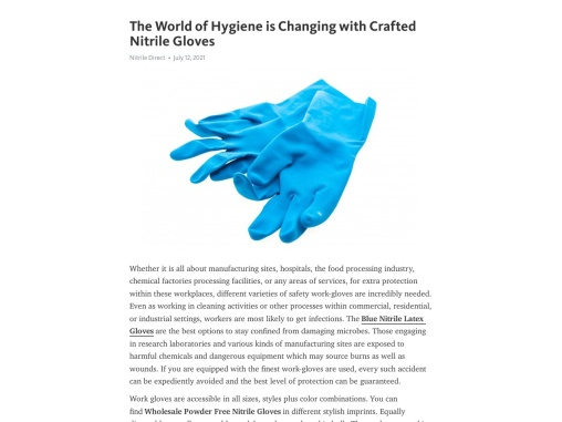 The World of Hygiene is Changing with Crafted Nitrile Gloves