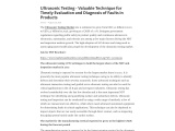 Ultrasonic Testing – Valuable Technique for Timely Evaluation and Diagnosis of Faults in Products