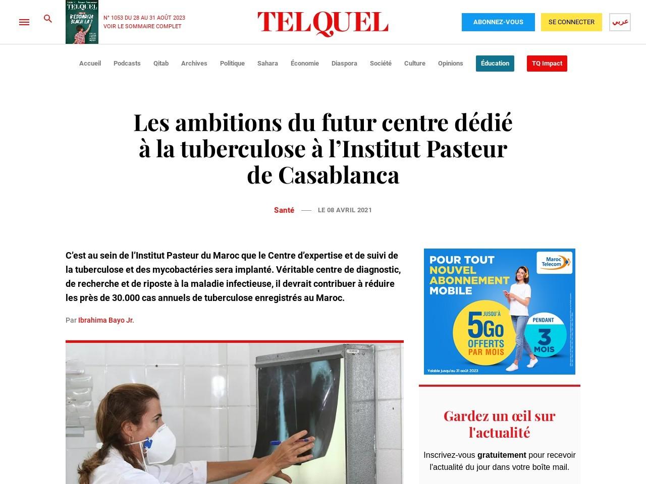 Les ambitions du futur centre dédié à la tuberculose à l'Institut Pasteur de Casablanca