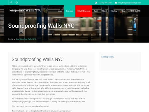 Soundproofing Walls NYC   Temporary Walls NYC