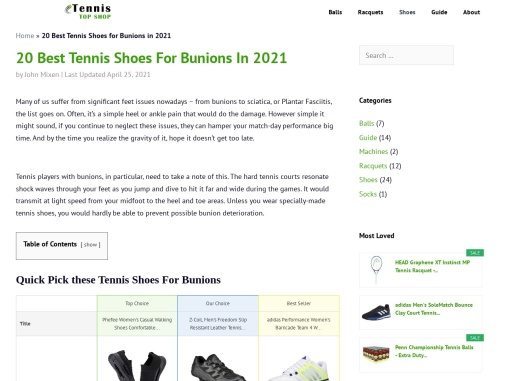 Tennis Shoes For Bunions by TennisTopShop