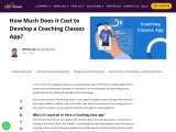 How Much Does it Cost to Develop a Coaching Classes App?