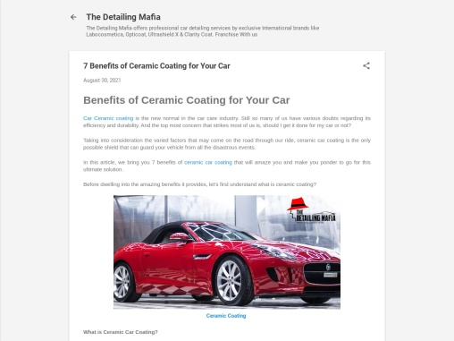 7  Benefits of Ceramic Coating for Your Car