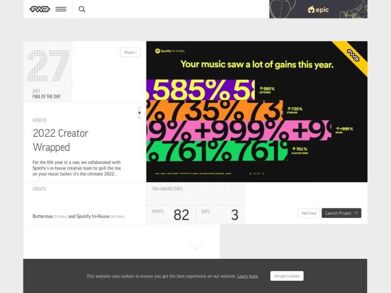 The FWA | イギリスのウェブデザインギャラリーサイト