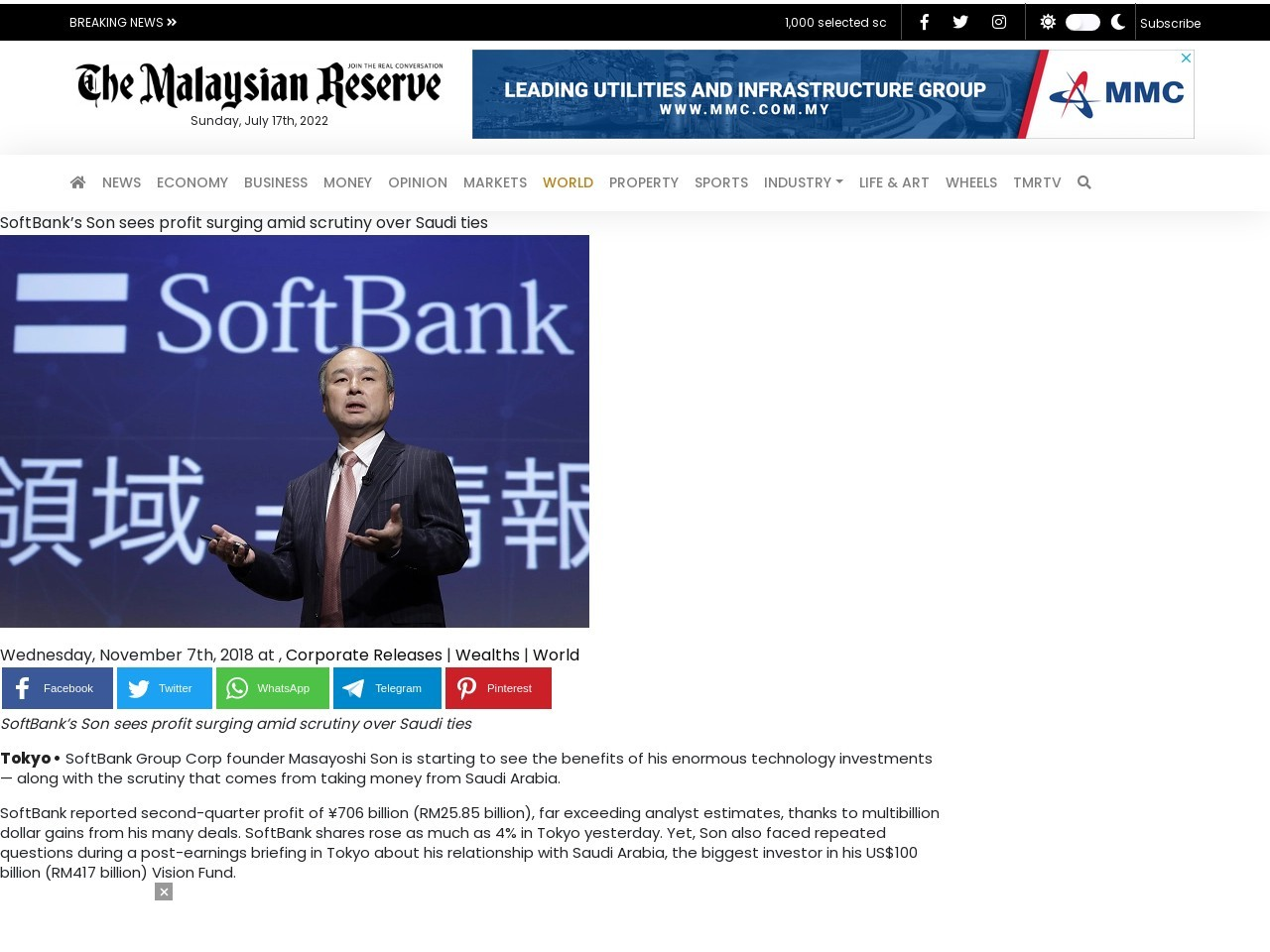 SoftBank's Son sees profit surging amid scrutiny over Saudi ties