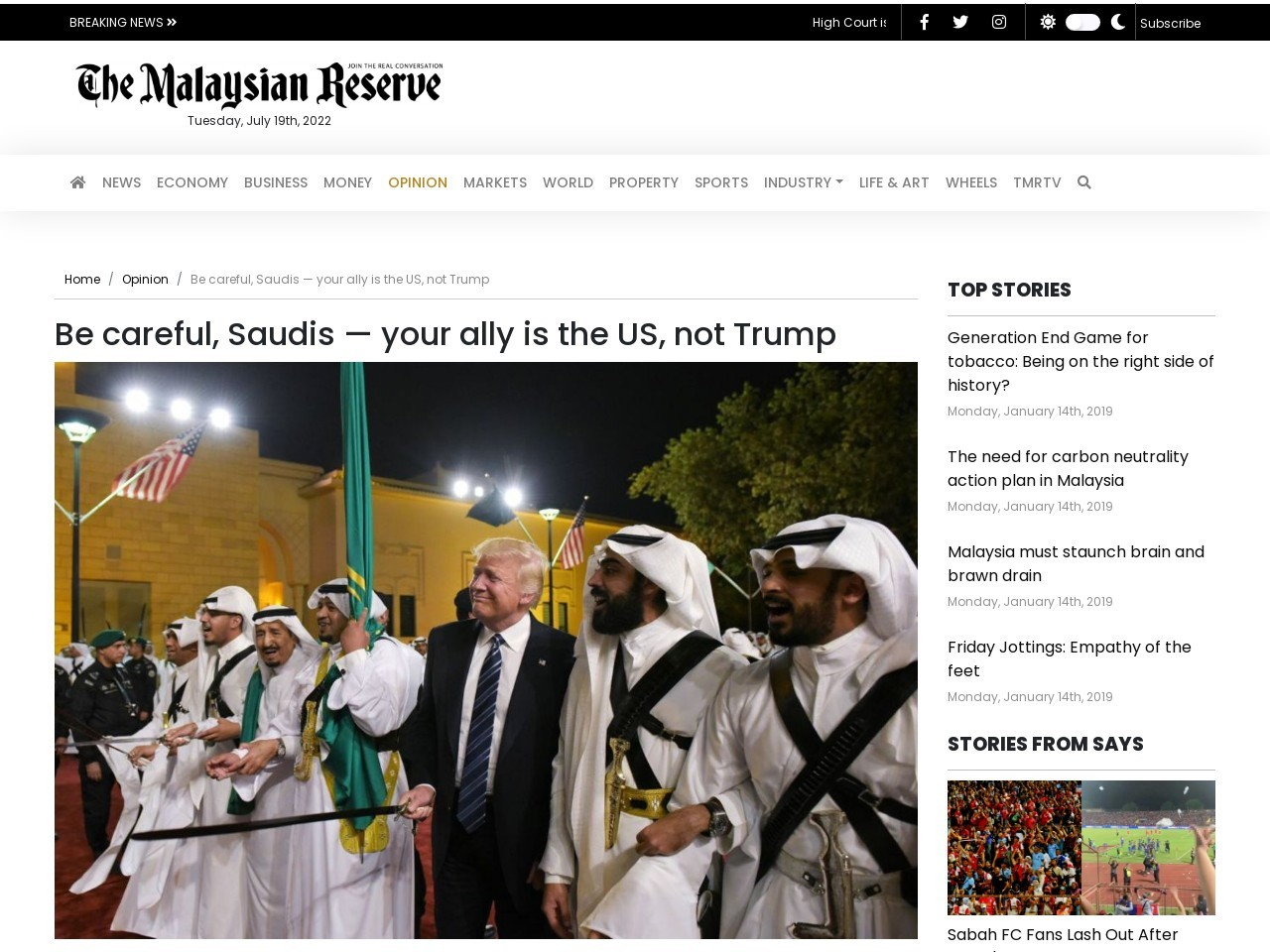 Be careful, Saudis — your ally is the US, not Trump