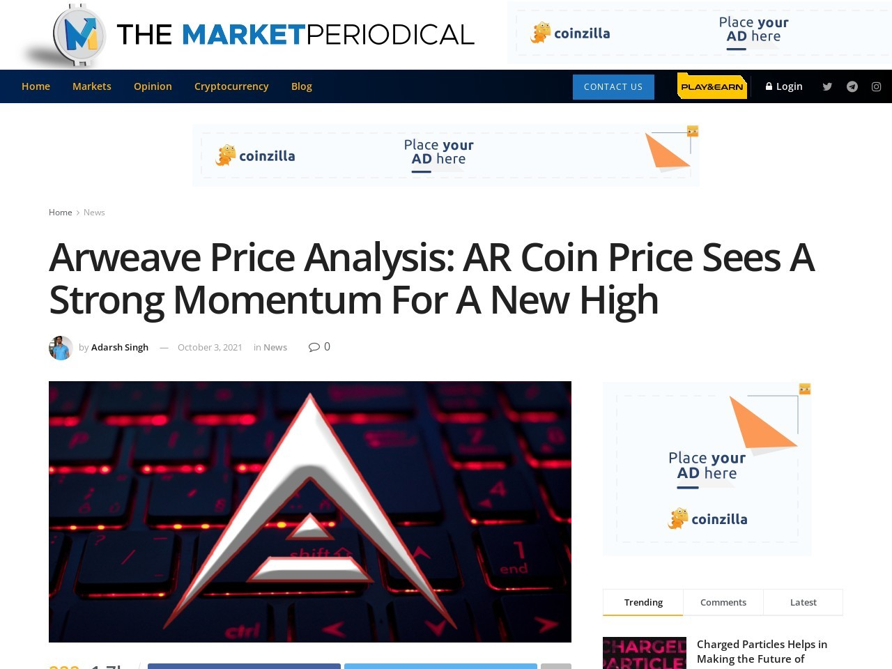 Arweave Price Analysis: AR Coin Price Sees A Strong Momentum For A New High – Cryptocurrency News – The Market Periodical