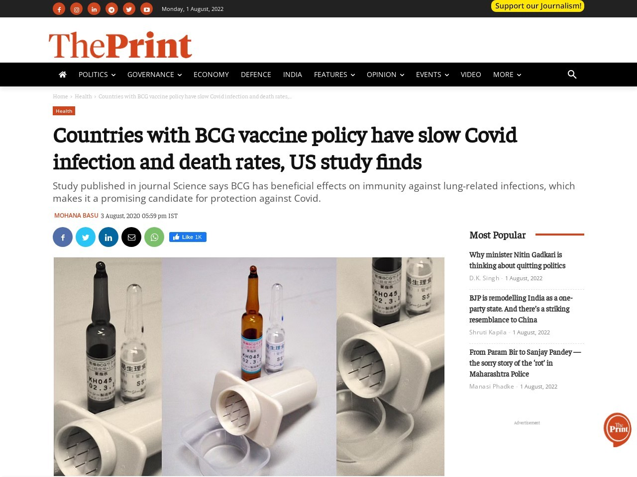 Countries with BCG vaccine policy have slow Covid infection and death rates, US study finds