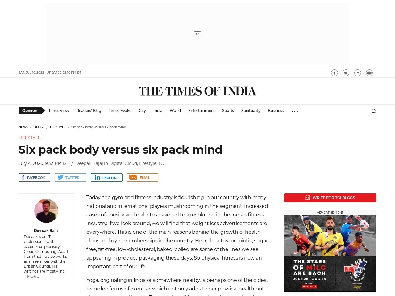Six pack body versus six pack mind