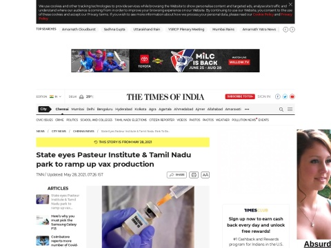 State eyes Pasteur Institute & Tamil Nadu park to ramp up vax production   Chennai News - Times of India