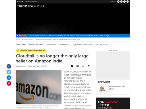 Cloudtail is no longer the only large seller on Amazon India