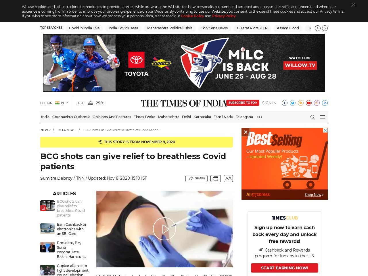 BCG shots can give relief to breathless Covid patients | India News - Times of India