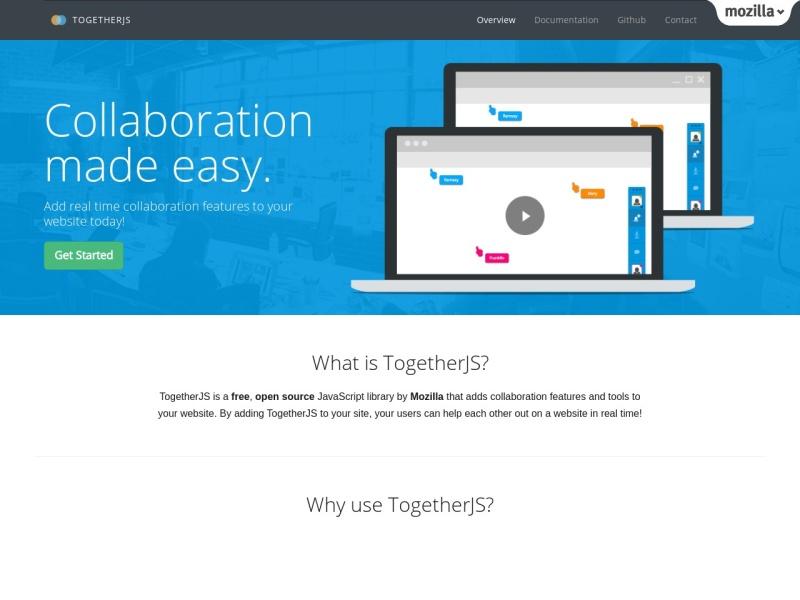 TogetherJS |リアルタイムコラボレーション機能を簡単に設置できるJavaScriptライブラリ