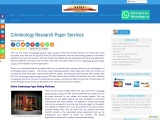 Criminology Research Paper Services