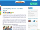 Social Psychology Research Paper Writing Services