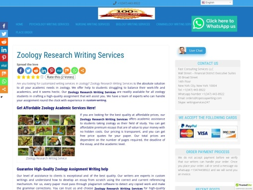 Zoology Research Writing Services