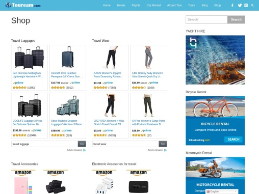 Travel accessories, luggage, Travel outfits & Travel books | Touream.com